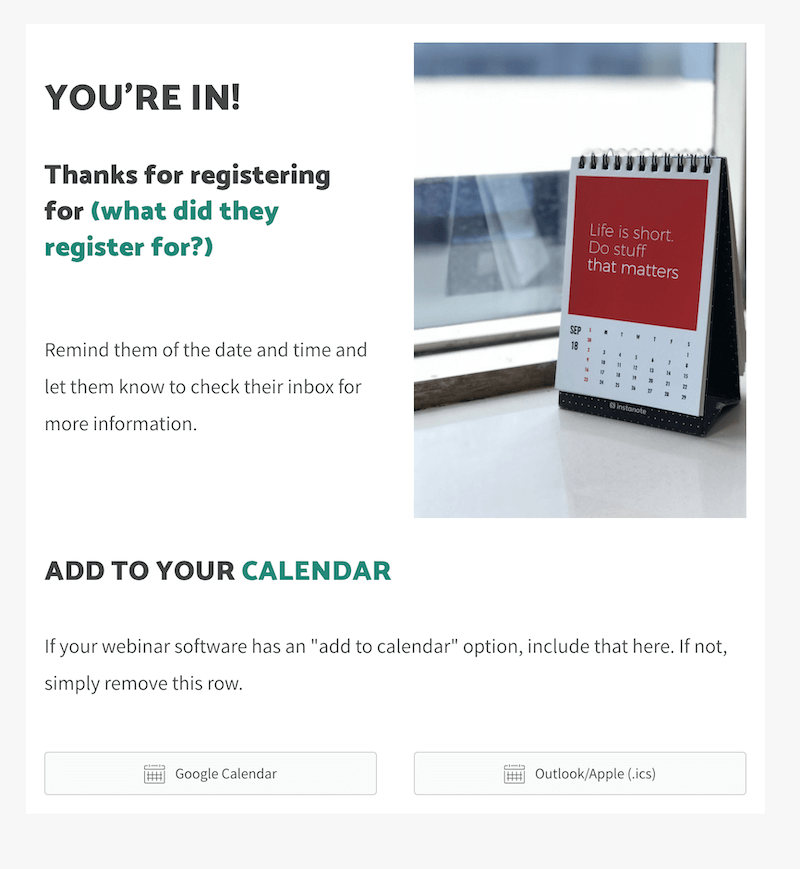 thank you for registering for the webinar template kathleen celmins
